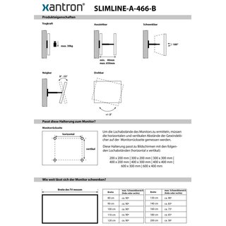 Support mural TV ultra plat pour 32-60, Xantron SLIMLINE-A-466-B